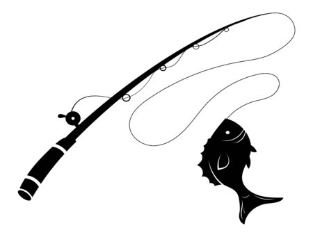 Fishing symbol Black and white illustration of a fish hunting for bait. Predatory fish on the hook. Fishing on the rod.