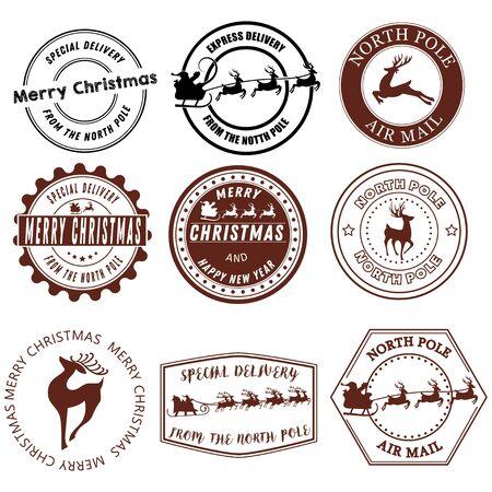 Insieme dei segni di Babbo Natale. Collezione di francobolli del Polo Nord. Illustrazione vettoriale di francobolli per posta. Segni Di Natale. Disegno per bambini.