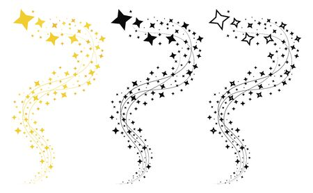 Set of shooting stars. Collection of stars silhouette. Vector illustration of a flying star. Black and white drawing. Tattoo. 일러스트
