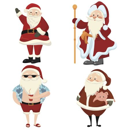 Set of cartoon Santa Clauses. Collection of cute Christmas santa clauses. Illustration for Christmas holidays.