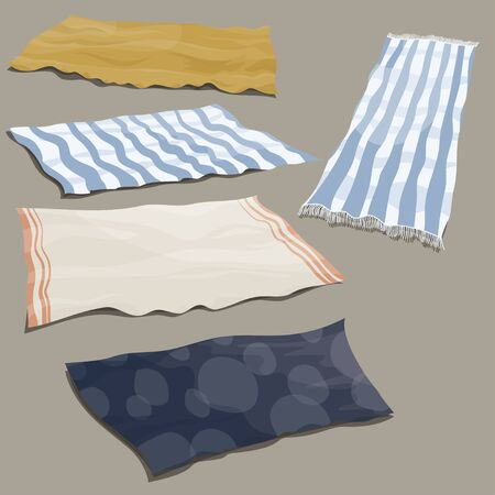 Set of beach litter. Collection of bedding for relaxing on the beach. Cartoon illustration of blankets. Drawing for children.