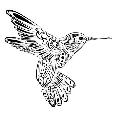 Vector illustration of a hummingbird. Stylized flying bird. Drawing with ornaments. Linear Art. Black and white drawing by hand. Tattoo.