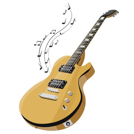 Electric guitar makes a sound. Colored guitar with notes. Musical instrument. Musical emblem. Isolated stylish art. Modern grunge and rock style. Tattoo.
