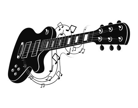 Electric guitar makes a sound. Black and white guitar with notes. Musical instrument. Musical emblem. Isolated stylish art. Modern grunge and rock style. Tattoo.