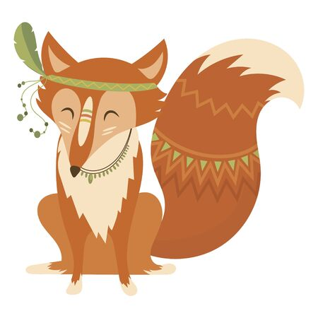 Cartoon fox indian. Vector illustration of a cute fox in a headdress with feathers. Drawing animal for children. Illusztráció