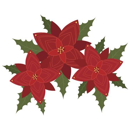 Flower poinsettia. Cartoon Christmas flower. Illustration of a blooming plant on a white background.