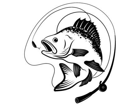 Simbolo di pesca. Illustrazione in bianco e nero di un pesce a caccia di esche. Pesce predatore sull'amo. Pesca con la canna. Tatuaggio.