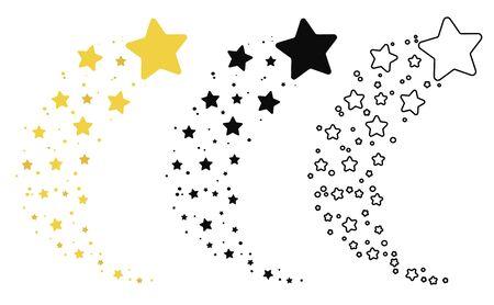 Conjunto de estrellas fugaces. Colección de silueta de estrellas. Ilustración de vector de una estrella voladora. Dibujo en blanco y negro. Tatuaje. Ilustración de vector