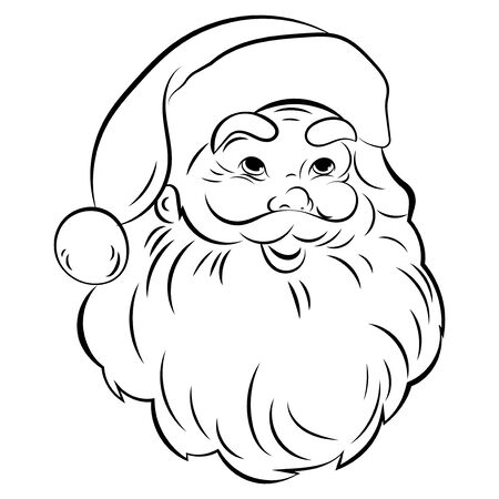 Santa Claus face. Portrait of Santa. Black white christmas pattern. Sketch the head of Santa Claus. Tattoo.