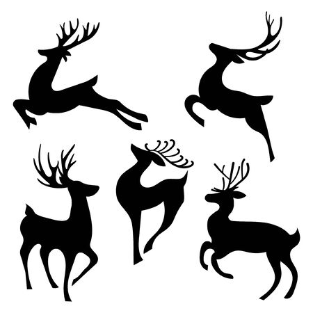 Set of silhouettes of running deer. Collection of Christmas deer. Leaping deer Santa.
