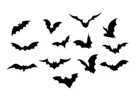 Establecer murciélagos. Colección de murciélagos. Murciélagos voladores. Víspera de Todos los Santos. Conjunto de siluetas negras. Murciélagos de dibujos animados. Arte lineal. Dibujando a mano. Garabatear. Tatuaje. Ilustración de vector