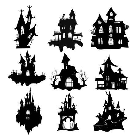 Set di case stregate per Halloween. Collezione di castelli con mostri. Setacci neri della casa. Vettoriali