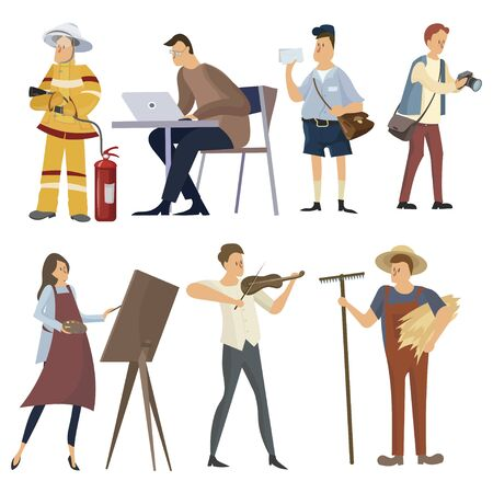 Set of professions. Collection of people of different professions. Illustration of men and women at work. Drawing for children. Ilustrace