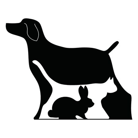 Veterinary  Illustration for pet shop. Drawing with pets. Banque d'images - 130094228