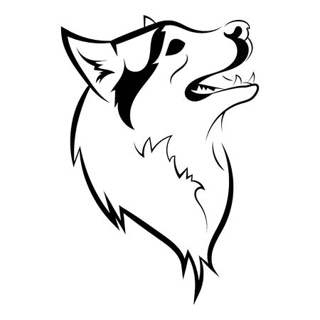 Portrait of a husky. Black and white dog head. Illustration of a pet. Tattoo. Stock Vector - 130094230