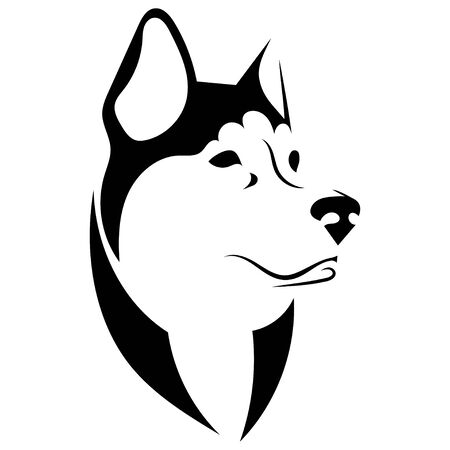 Portrait of a husky. Black and white dog head. Illustration of a pet. Tattoo.