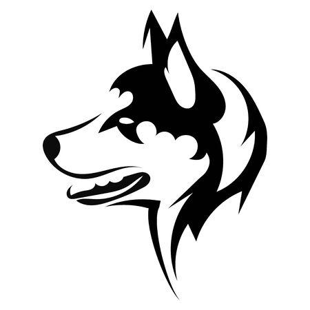Retrato de un husky. Cabeza de perro blanco y negro. Ilustración de una mascota. Tatuaje.