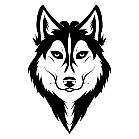 Portrait of a husky. Black and white dog head. Illustration of a pet. Tattoo. Stock Vector - 130020854