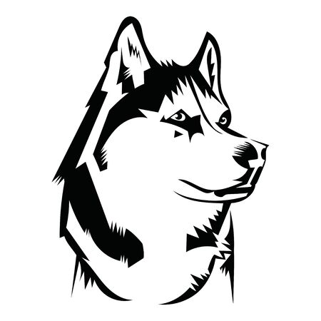 Ritratto di un husky. Testa di cane in bianco e nero. Illustrazione di un animale domestico. Tatuaggio. Vettoriali