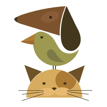 Veterinary Illustration for pet shop. Drawing with pets. Stylized icon with a dog and a cat. Stock Illustratie