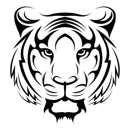 Black white illustration of a tiger head. Portrait of a predator. Tattoo wild cats. Ilustrace