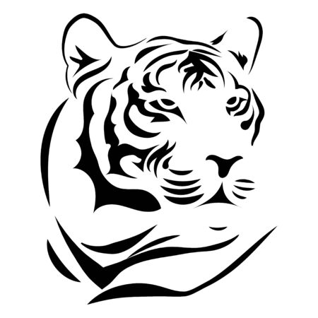 Black white illustration of a tiger head. Portrait of a predator. Tattoo wild cats. Standard-Bild - 130020484