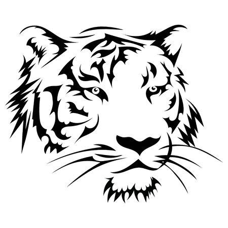 Black white illustration of a tiger head. Portrait of a predator. Tattoo wild cats. Vektorové ilustrace
