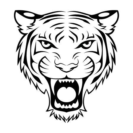 Black white illustration of a tiger head. Portrait of a predator. Tattoo wild cats. Иллюстрация