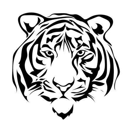 Illustration blanche noire d'une tête de tigre. Portrait d'un prédateur. Tatouez des chats sauvages.
