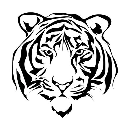 Illustrazione in bianco e nero di una testa di tigre. Ritratto di un predatore. Tatuaggi gatti selvatici.