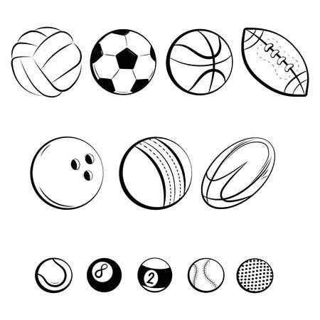 Set of balls. Collection of gaming balls. Black white illustration of balls for sport. Linear art. Tattoo.