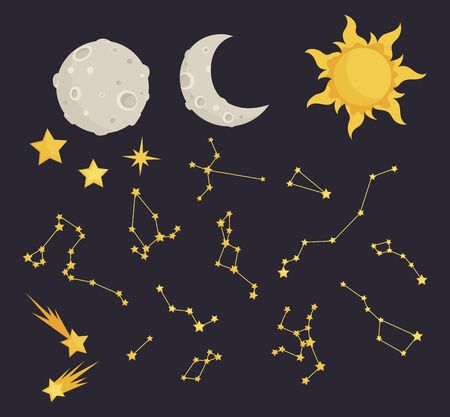 Set of stars and constellations. Starry sky collection. Vector illustration of the moon and night sky for children. Astronomy. Иллюстрация