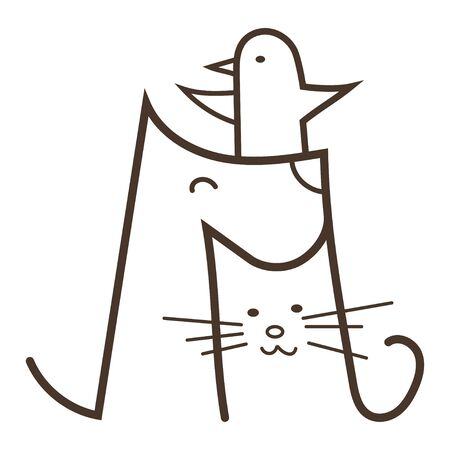 Veterinary  Illustration for pet shop. Drawing with pets. Stylized symbol with a dog and a cat. Stock Illustratie