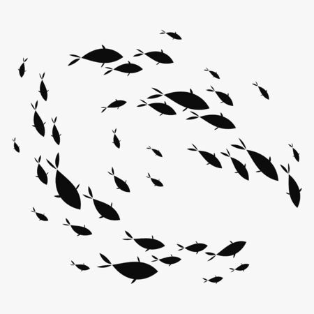 School of fish. A group of silhouette fish swim in a circle. Marine life. Vektorové ilustrace