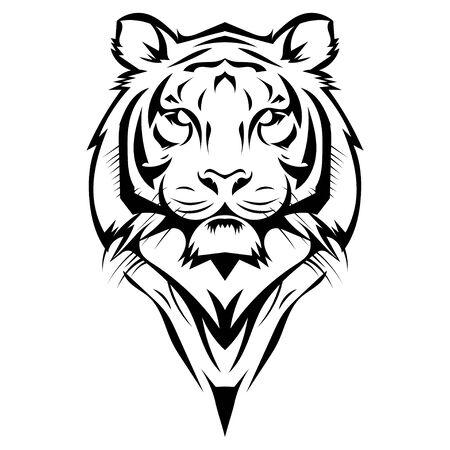 Black white illustration of a tiger head. Portrait of a predator. Tattoo wild cats. Çizim