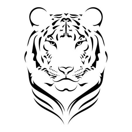 Black white illustration of a tiger head. Portrait of a predator. Tattoo wild cats.