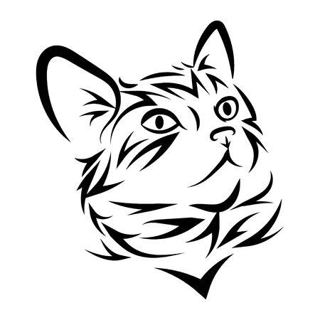 Retrato de un gato. Lindo gatito. Ilustración en blanco y negro de un gato. Mascota estilizada. Tatuaje de cabeza de gato.
