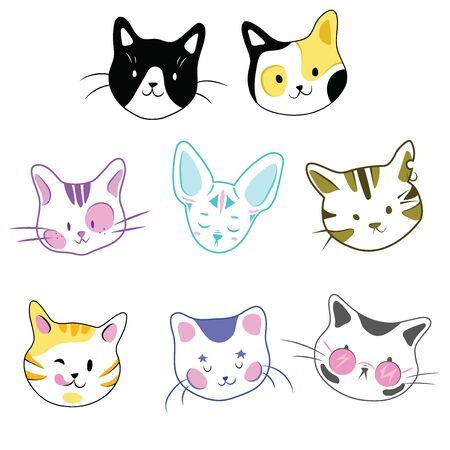Set of cats. A collection of cartoon kittens of different colors. Playful pets. Lovely colored cats. Vector illustration for children. Beautiful breed of kittens.