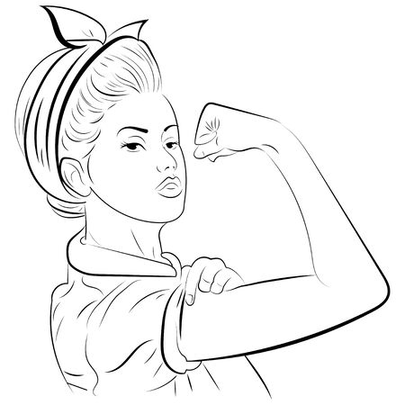 Strong girl in eyeglasses. Classical american symbol of female power, woman rights, protest, feminism.Black and white illustration. Foto de archivo - 130094474