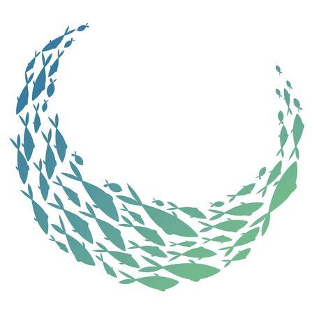 Gekleurde silhouetten school van vissen. Een groep silhouetvissen zwemt in een cirkel. Het leven in zee.