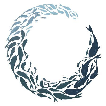 Banc de poissons de silhouettes colorées. Un groupe de poissons silhouettes nagent en cercle. La vie marine.