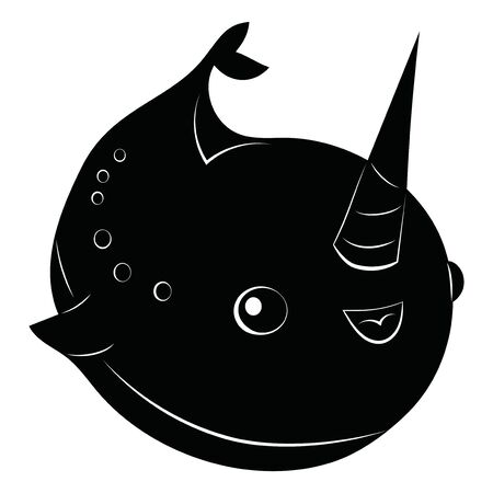 Cartoon narwhal. Cute fish unicorn. Fish with a horn. Childrens illustration of a whale. Black and white drawing of narwhal. Tattoo. Illustration