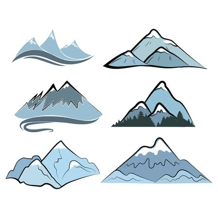 Set of mountains. Collection of stylized mountain landscapes. 向量圖像
