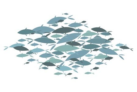 Colored silhouettes of groups of sea fishes. Colony of small fish.