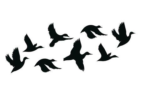 Flock of ducks. A cartoon flock of birds. Vector illustration of flying birds. Drawing for children. Foto de archivo - 130653764
