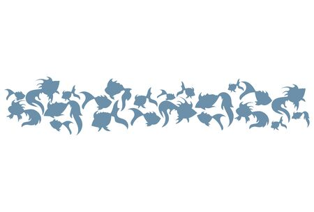 Colored silhouettes of groups of sea fishes. Colony of small fish. Icon with river taxers.