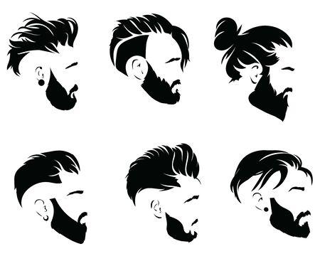 Zestaw fryzur dla mężczyzn. Kolekcja czarnych sylwetek fryzur i brody.