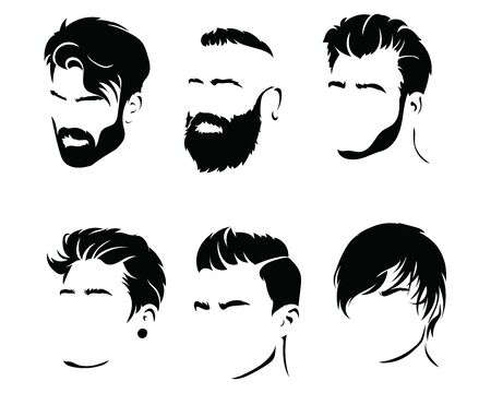 Set of hairstyles for men. Collection of black silhouettes of hairstyles and beards. Vector illustration for hairdresser.