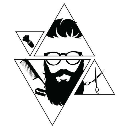 Logo for the hairdresser. Black and white template for a barbershop.Vector illustration for hairdresser. Illustration