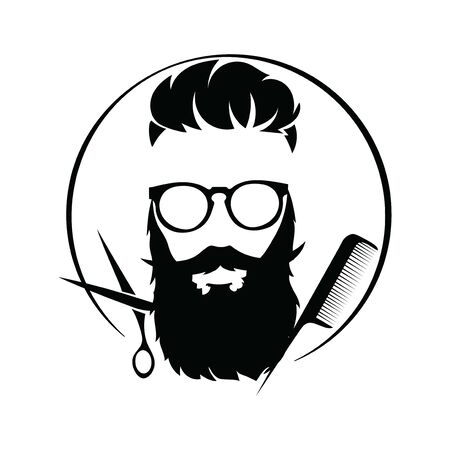 design for the hairdresser. Black and white design for a barbershop.Vector illustration for hairdresser. 免版税图像 - 130653969